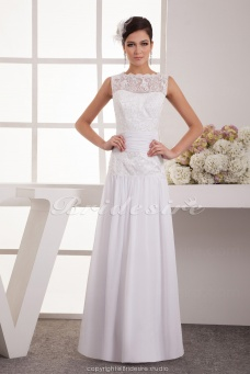 Sheath/Column Bateau Floor-length Sleeveless Chiffon Wedding Dress
