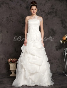 Ball Gown Organza Floor-length Strapless Wedding Dress