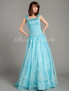 Ball Gown Short Sleeve Bateau Organza Floor-length Prom Dress With Embroidery