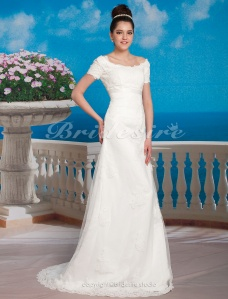 A-line Empire Sweep/ Brush Train Organza Over Satin Scoop Wedding Dress