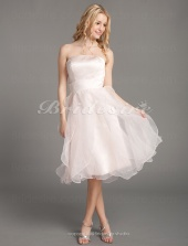A-line Organza Over Satin Knee-length Strapless Bridesmaid/ Wedding Party Dress