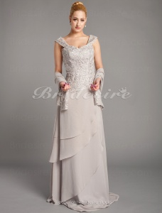Sheath/Column Chiffon And Lace Floor-length Straps Mother of the Bride Dress With A Wrap