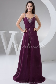 A-line Sweetheart Straps Floor-length Sweep/Brush Train Sleeveless Chiffon Dress