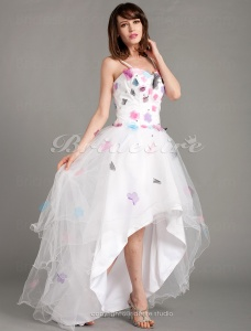 A-line Asymmetrical Sweetheart Tulle Short/Mini Evening Dress With Flower(s)
