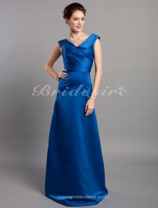 A-line V-neck Princess Stretch Satin Floor-length Bridesmaid/ Wedding Party Dress