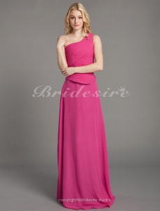 Sheath/ Column Floor-length One Shoulder Separate Chiffon Over Satin Bridesmaid/ Wedding Party Dress