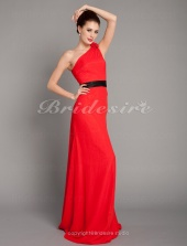 Column Chiffon One Shoulder Stretch Satin Floor-length Evening Dress inspired by Amy Poehler at Golden Globe