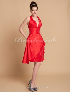 A-line Knee-length Taffeta Halter Bridesmaid/ Wedding Party Dress