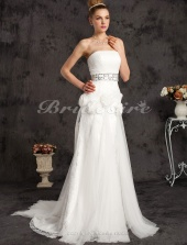 Mermaid/Trumpet Lace And Tulle Court Train Strapless Wedding Dress With A Wrap