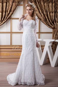 Trumpet/Mermaid Sweetheart Floor-length Sweep Train Long Sleeve Satin Lace Wedding Dress