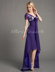 A-line Chiffon Asymmetrical V-neck Mother of the Bride Dress