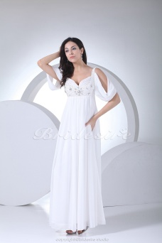Sheath/Column Sweetheart Floor-length Short Sleeve Chiffon Wedding Dress