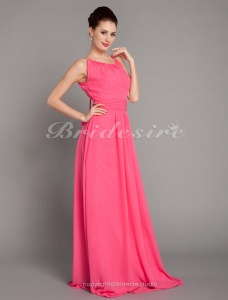 Sheath/ Column Chiffon Floor-length Jewel Bridesmaid Dress