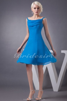 A-line Square Short/Mini Sleeveless Chiffon Dress