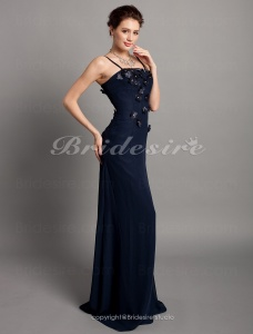 Sheath/ Column Chiffon Floor-length Spaghetti Straps Bridesmaid Dress With Appliques