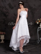 A-line Asymmetrical Lace Sweetheart Wedding Dress