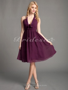 A-line Chiffon Short/ Mini Halter Bridesmaid Dress