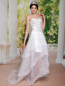 A-line Organza Asymmetrical Sweetheart Evening Dress