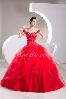 Ball Gown Off-the-shoulder Floor-length Sleeveless Tulle Dress