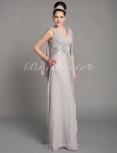 Sheath/ Column V-neck Elastic Satin Chiffon Evening Dress