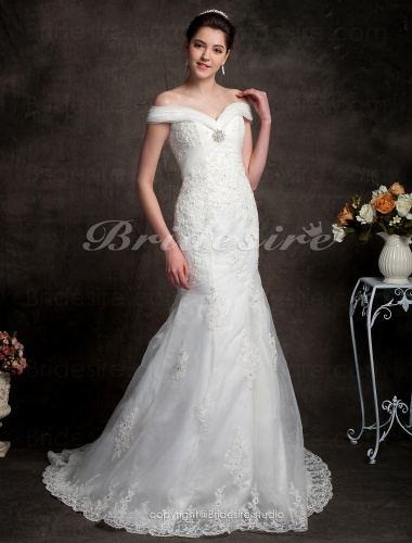 Bridesire trumpet mermaid organza over satin off the for Over the shoulder wedding dress