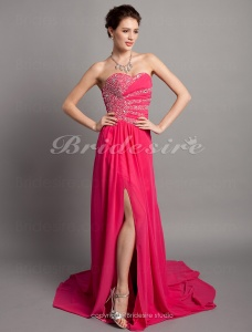 A-line Chiffon Sweep/ Brush Train Sweetheart Evening Dress
