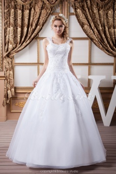 Princess Scoop Floor-length Sleeveless Satin Lace Wedding Dress