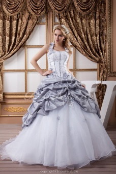Ball Gown Halter Floor-length Sweep Train Sleeveless Satin Wedding Dress