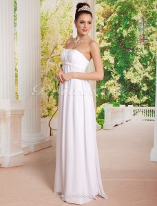 Sheath/Column Chiffon Empire Waist Floor-length Strapless Wedding Dress