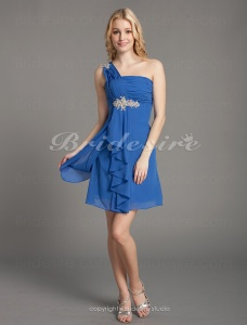 Sheath/Column Chiffon Short/Mini One Shoulder Cocktail Dress