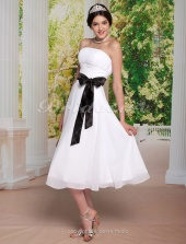 A-line Over Elastic Woven Satin Tea-length Chiffon Strapless Wedding Dress with Ribbon