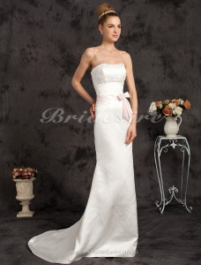 Mermaid/Trumpet Satin Sweep/ Brush Train Strapless Wedding Dress with Ribbon