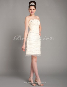 Sheath/ Column Satin Lace Short/ Mini Strapless Cocktail Dress