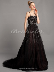 Ball Gown Brilliant A-line Tulle Floor-length Spaghetti Straps Evening Dresses