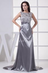 A-line Scoop Court Train Sleeveless Stretch Satin Lace Dress