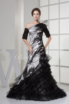 Trumpet/Mermaid One Shoulder Floor-length Sweep Train Half Sleeve Lace Satin Dress