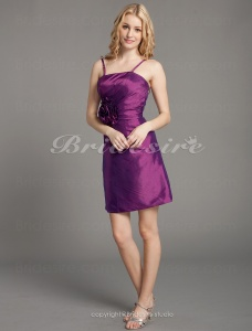 Sheath/Column Taffeta Short/Mini Spaghetti Straps Cocktail Dress
