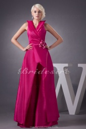 A-line V-neck Floor-length Sleeveless Taffeta Dress