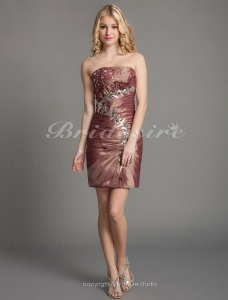Sheath/Column Beautiful Strapless Taffeta Short/Mini Cocktail Dresses
