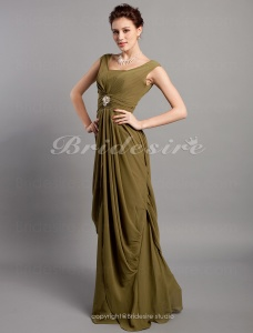 Sheath/Column Chiffon Floor-length V-neck Bridesmaid Dress
