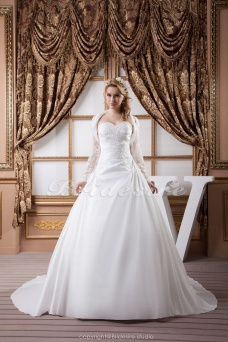 Princess Sweetheart Floor-length Sweep Train Sleeveless Satin Wedding Dress