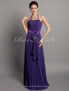 A-line Chiffon Floor-length Halter Bridesmaid Dress