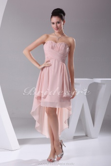 A-line Sweetheart Asymmetrical Knee-length Sleeveless Chiffon Dress