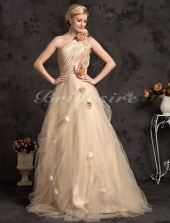 A-line Tulle Floor-length One Shoulder Wedding Dress