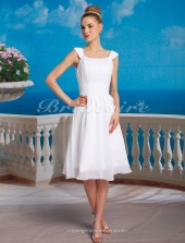 A-line/ Princess Chiffon Knee-length Square Wedding Dress