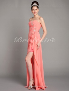 Sheath/Column Chiffon Asymmetrical Sweetheart Evening Dress