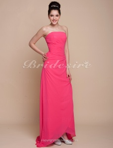 A-line Chiffon Over Satin Asymmetrical Strapless Bridesmaid/ Wedding Party Dress