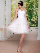 Ball Gown Sweetheart Strapless Taffeta Tulle Knee-length Wedding Dress
