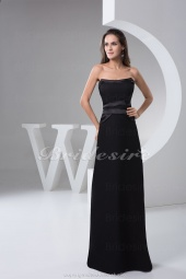 A-line Strapless Floor-length Sleeveless Chiffon Satin Dress
