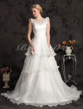 A-line Organza And Satin Court Train Scoop Neck Wedding Dress